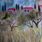Olive grove. Detail of machine embroidered piece. Worked on silk organza with added felted wool details.