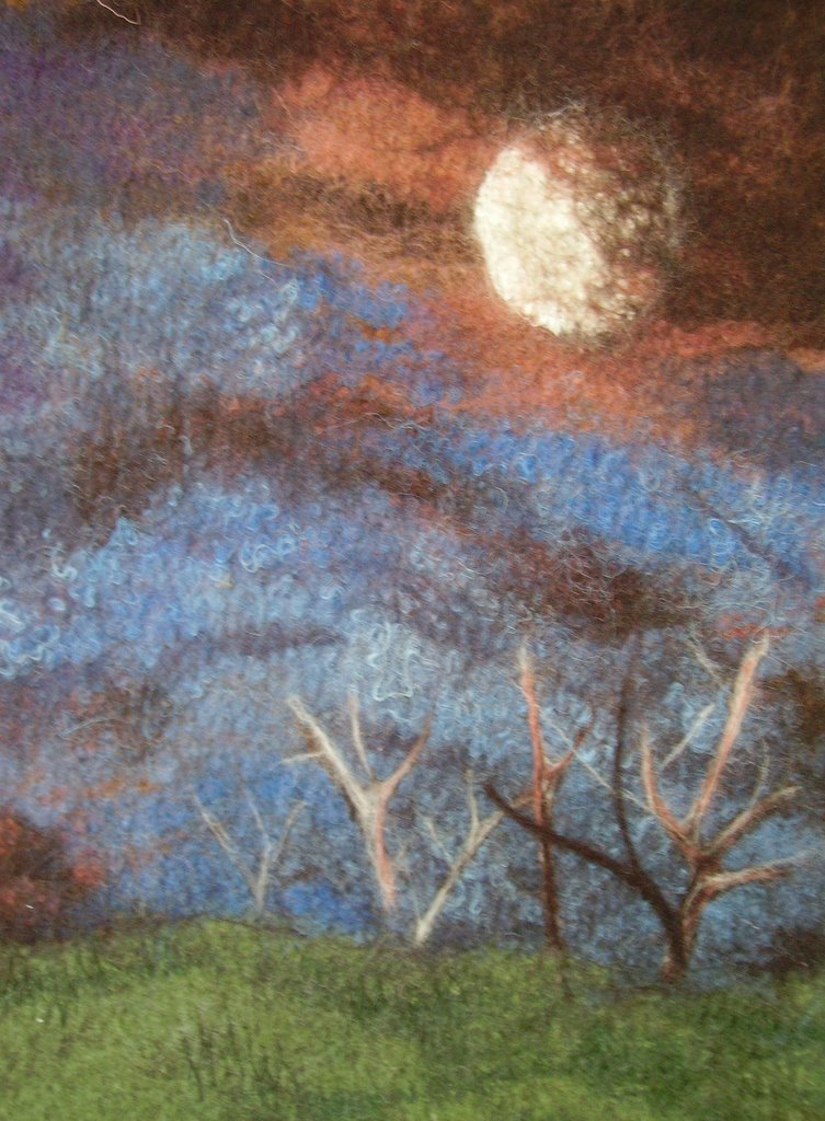 Moon - stitched felt with silk additions